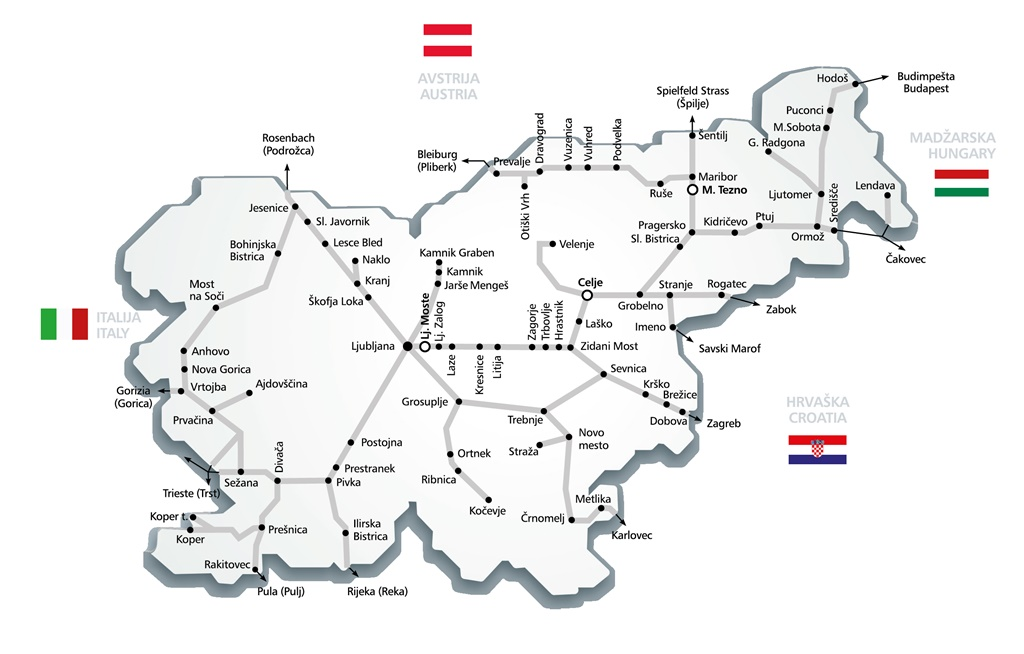 Map of Slovenian railway