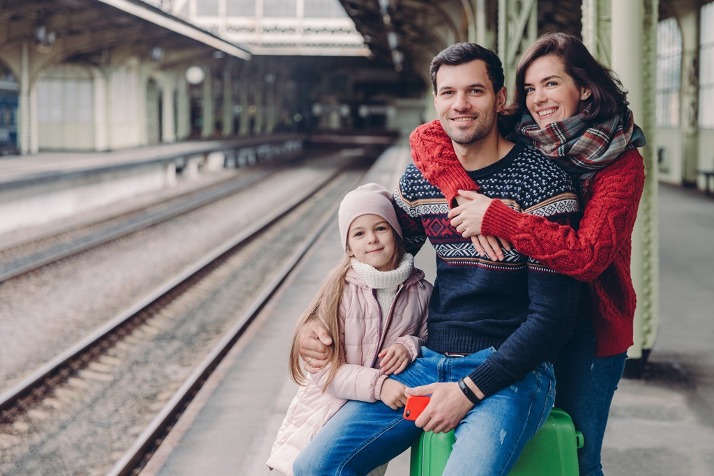 Family at the train station